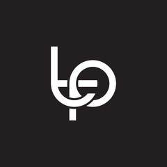 Initial lowercase letter tp, overlapping circle interlock logo, white color on black background