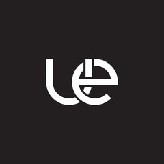 Initial lowercase letter ue, overlapping circle interlock logo, white color on black background