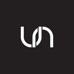 Initial lowercase letter un, overlapping circle interlock logo, white color on black background