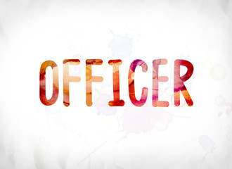 Officer Concept Painted Watercolor Word Art