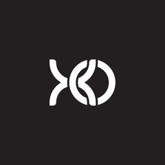 Initial lowercase letter xo, overlapping circle interlock logo, white color on black background