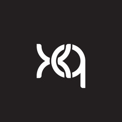 Initial lowercase letter xq, overlapping circle interlock logo, white color on black background