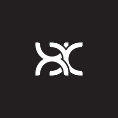 Initial lowercase letter xx, overlapping circle interlock logo, white color on black background