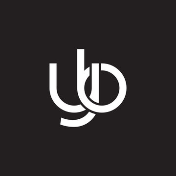 Initial lowercase letter yb, overlapping circle interlock logo, white color on black background