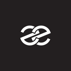 Initial lowercase letter zz, overlapping circle interlock logo, white color on black background