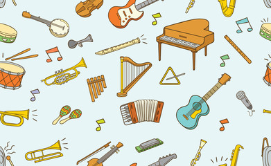 Seamless pattern of doodle musical instrument in color