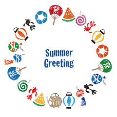 暑中見舞い 日本の夏素材 円形フレーム