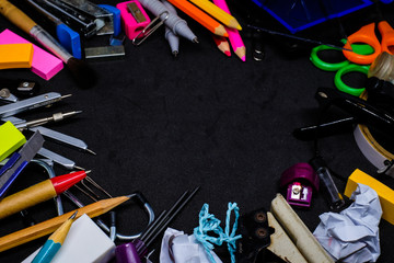 Equipment (stationery) for education in school - such as pencil, pen, paper, eraser, sharpener, color pencil, stapler, punch paper, scissors, tape, paintbrush, drawing compass for big data texture.