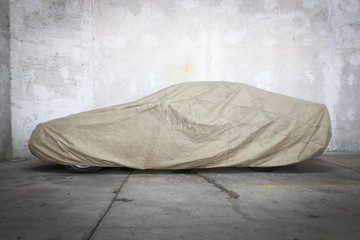 Car under a protective cover
