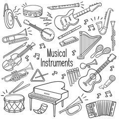 Doodle musical instruments in black color