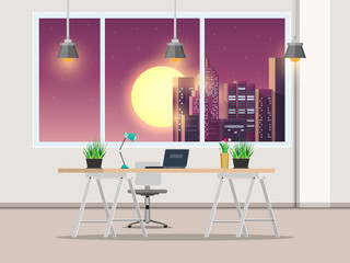 Office with work desk and window Night City, vector illustrations