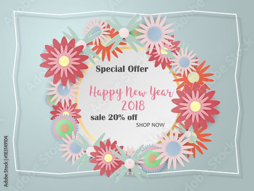 happy new year card for sale banner template for invitation poster design with paper art