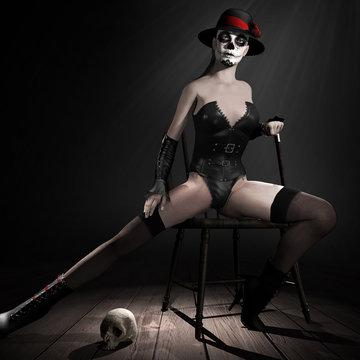 Creepy cabaret dancer