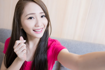 woman selfie happpily