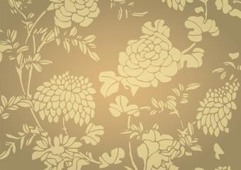 Traditional golden gradient Asian flower textured background