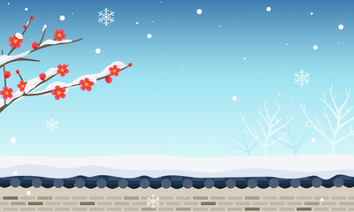 Wall Mural - Winter snow background vector illustration, Red plum blossom with traditional stone wall fence.