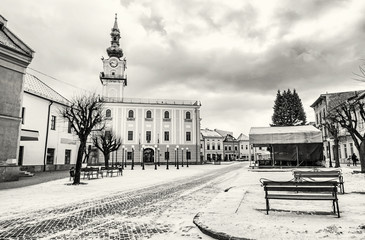 Town hall in main square, Kezmarok, Slovakia, colorless