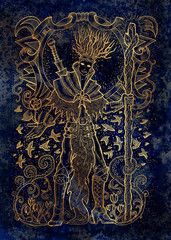 March month graphic concept. Hand drawn engraved illustration on blue texture. Handsome magician of spring holding wand against the background of flying birds.