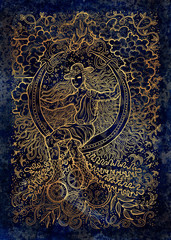 April month graphic concept. Hand drawn engraved illustration on blue texture. Young magician of Spring sitting on the moon against the background of plants, leaves and steampunk mechanism