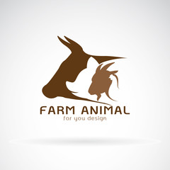 Vector group of animal farm label. Cow,pig,chicken,goat. Icon Animal.