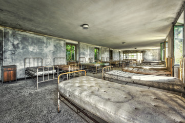 Dilapidated dormitory in an abandoned children hospital