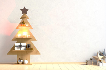 Modern minimalistic Christmas interior, Scandinavian style. 3D illustration. wall mock up