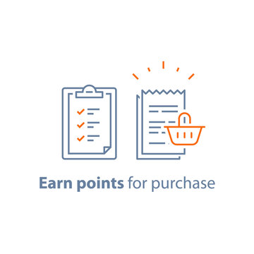 Loyalty program, earn points, marketing concept, till slip with shopping basket