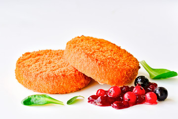 Fried camembert on white background