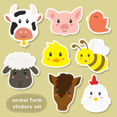 animal farm sticker set, cartoon vector