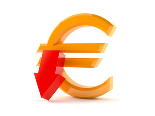 Euro symbol with red arrow