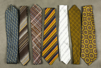 Collection of neckties in various designs.