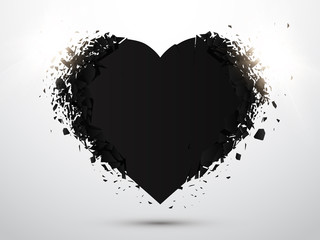 Black Heart isolated with explosion effect. Valentines day concept. Vector
