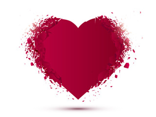 Red Heart isolated on white background with explosion effect. Valentines day concept. Vector