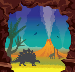 Prehistoric landscape with dinosaurs, volcano, cave and night sky.