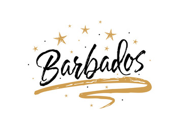 Barbados. Name country word text card, banner script. Beautiful typography inscription greeting calligraphy poster black, gold ribbon, star. Handwritten design modern brush lettering isolated vector