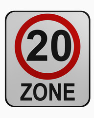 German traffic sign: tempo 20 zone isolated on white