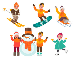 Set of children's characters. Kids mold a snowman,ride ice skate, ski, sleigh and snowboard