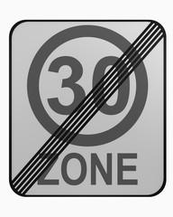 Deutsches Verkehrszeichen: tempo 30 Zone beendet, auf weiß isoliert
