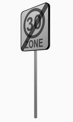 Deutsches Verkehrszeichen: tempo 30 Zone beendet