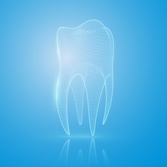 3D mesh tooth on a blue background.