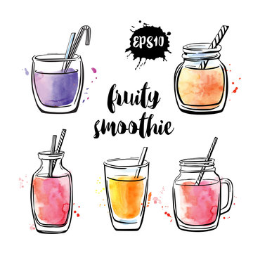 Set of vector illustrations Fruity smoothie. Collection of hand drawn cups, mugs and glasses with healthy summer cocktails. Black outline and bright watercolor stains isolated on white background.
