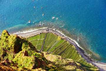 Aerial view of terrace fields at Cabo Girao, Madeira, Portugal Fototapete