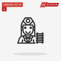 stewardess vector icon