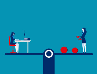 People balancing on exercise and working. Concept business vector illustration. Flat character design