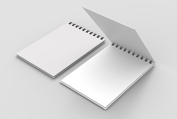 Spiral binder notebook mock up isolated on soft gray background. 3D illustrating.