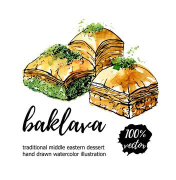 Vector illustration of turkish delight Baklava with pistachio in circle composition. Hand drawn dessert with black outline and bright watercolor texture. Logo or banner design for cafe menu design