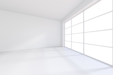 Large room with windows and falling light from the window on the wall. 3D rendering.