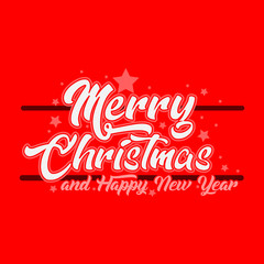 clean Merry Christmas Greeting Design with red background and white letters