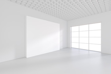 White billboard in an empty office with large windows and beautiful diffused light from the window. 3D rendering.