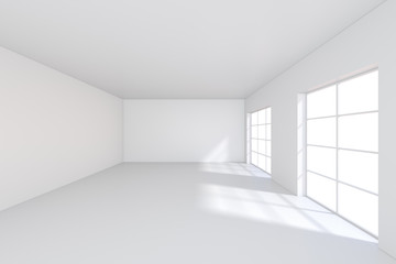 Room with windows and falling light from the window to the floor. 3D rendering.